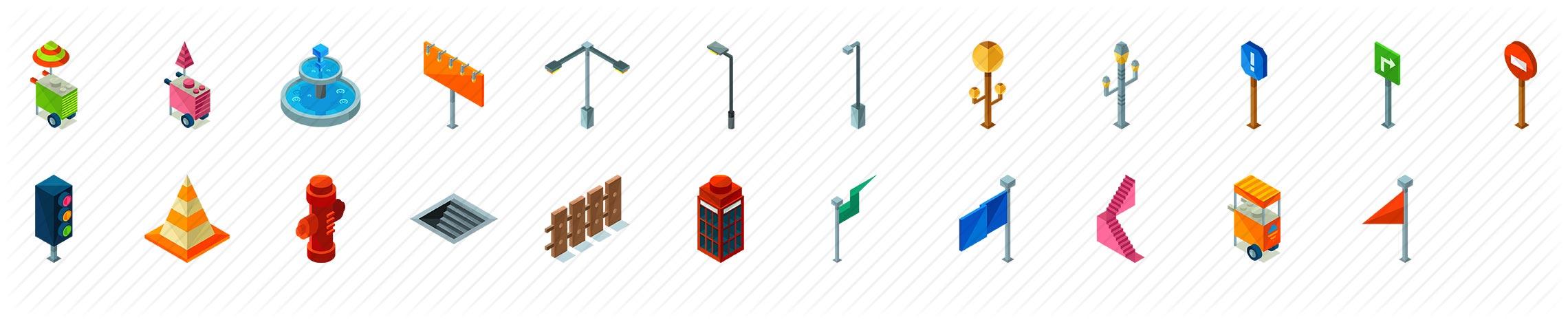 Street Elements Isometric Icons