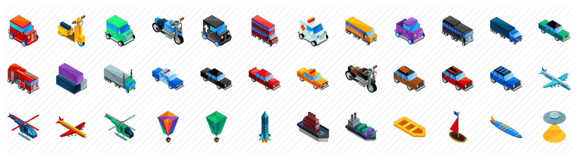 Transportation Isometric Icons