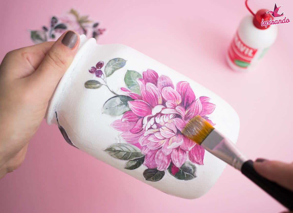 Pittura Su Vetro Tutorial Decoupage Su Vetro Come Decorare Una Mason Jar Ispirando