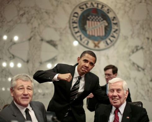 U.S. Senator Barack Obama poses alongside Hagel and Lugar at a Senate Committee in Washington
