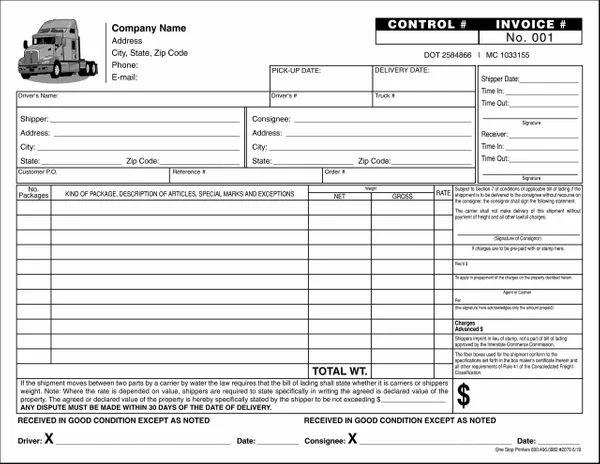 bill of lading trucking