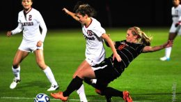 Rachel Strawn, 18, makes a play against Stanford.