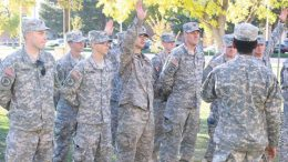 ROTC students prepare for military life while attending college.