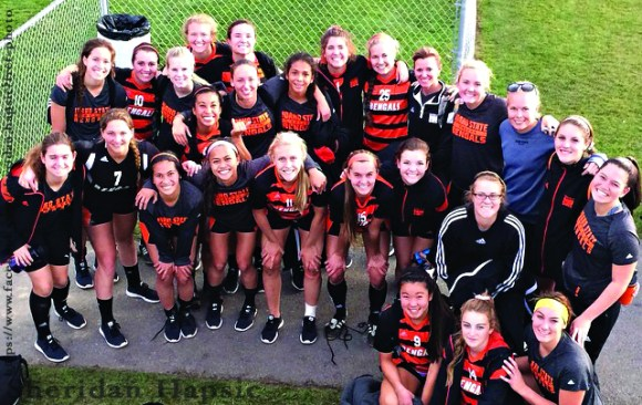 The Women's Soccer team posed for a photo Sunday, Nov. 9 after the championship game.