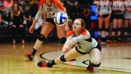 Alydia Fields-Grimm leans in for a dig.