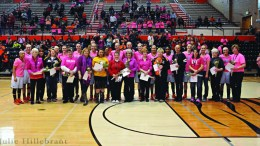 A brief ceremony honoring cancer survivors was held prior to the game.