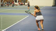 ISU women's tennis players on the court