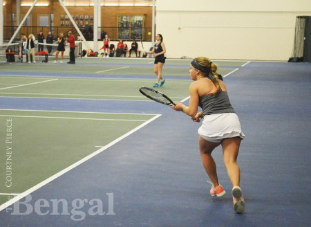ISU women's tennis player on the court