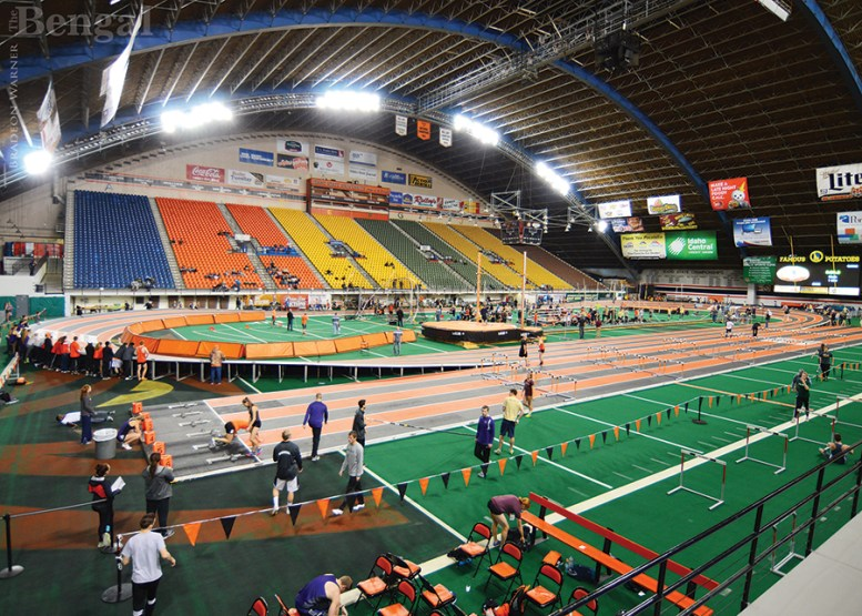 Track events at Holt Arena.
