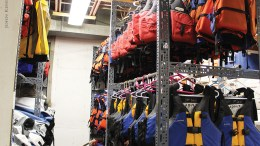 Racks of life vests.