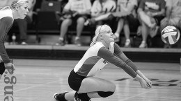 ISU volleyball player goes for a dig.