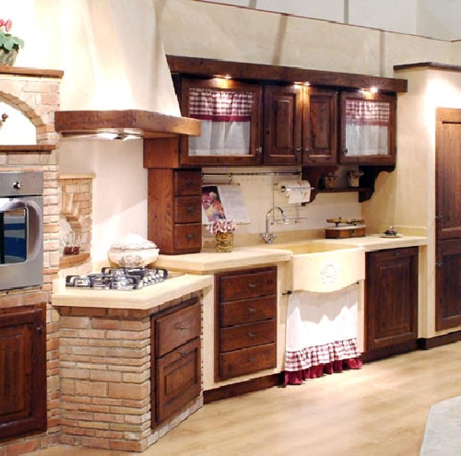 Cucina In Muratura Legno Chiaro   Mattonelle Cucina In Muratura Best ...