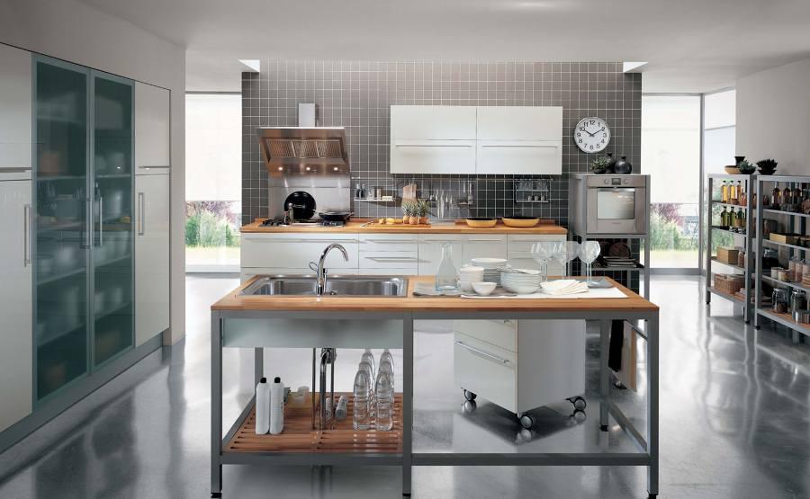 Cucina In Legno E Acciaio | Carrello Cucina Legno Portacoltelli Chef ...