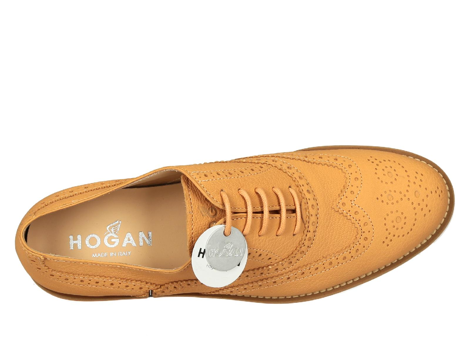Hogan Italy Hogan Women 39s Orange Leather Brogue Oxfords Lace Up Shoes