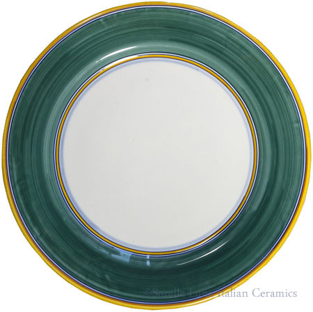 Italian Majolica Charger Dinner Plate - solid green border