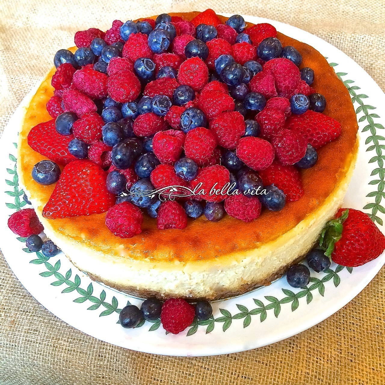 Italian Mascarpone Ricotta Cheesecake Raspberry Almond Crust