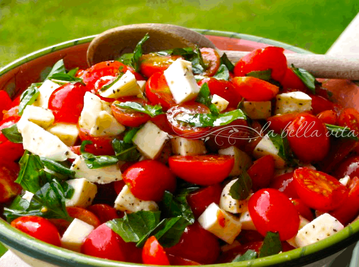 Cucina & Amore White Balsamic Vinegar Caprese Salad With Grape Tomatoes Mozzarella Basil