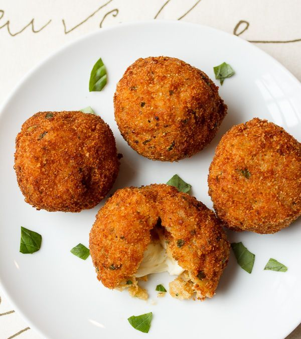 Arancini with Smoked Mozzarella and Basil