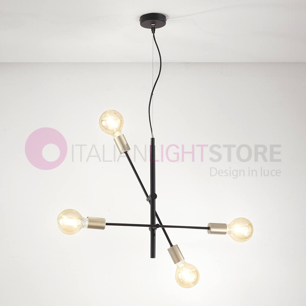 Glass Lamp Vector Vector Ceiling Lamp Suspension Adjustable 4 Lights Industrial Design