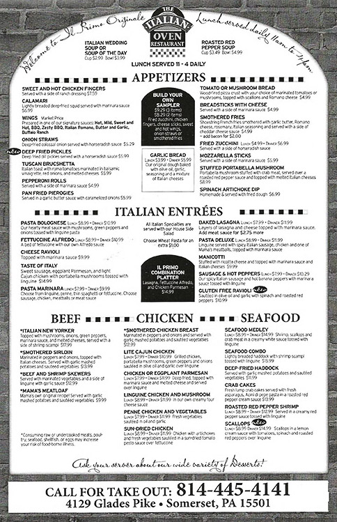 Family Friendly Italian Restaurant in Somerset, PA The Italian - italian menu