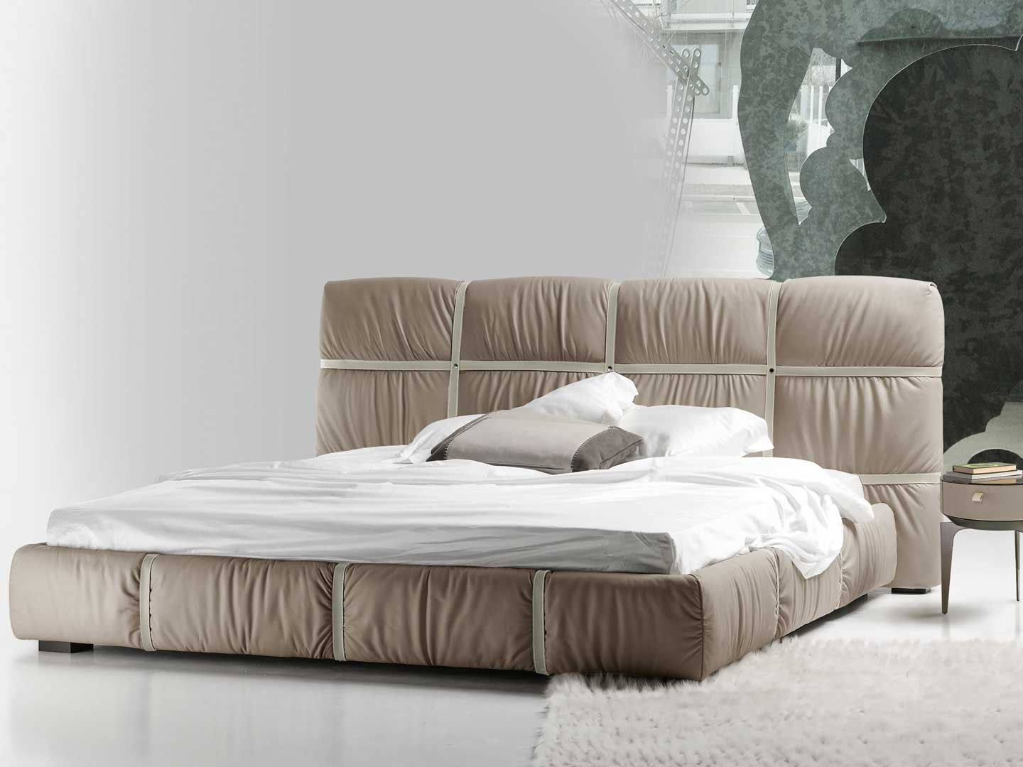 Leather Bed Crossover Leather Bed With Belts