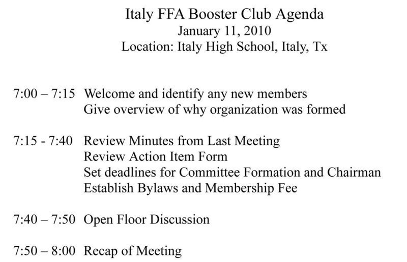 Italy FFA Booster Club to hold organizational meeting tonight