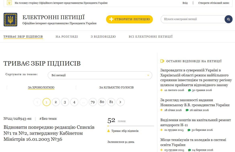 Версия 3.0. Насайте президента обновили систему подачи петиций