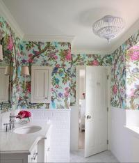 Floral Royal Bathroom Wallpaper Ideas on Small White ...