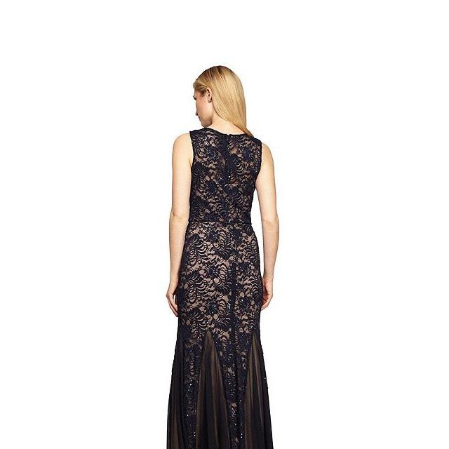 Alex Evenings Navy Fit N Flare Gown with Shawl Long Formal