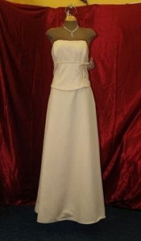 Jordan Fashions Cameo Satin Long Gown with Shawl Cream