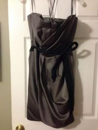 Vera Wang Charcoal Satin Short Draped Sash Style Vw360017