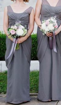 White by Vera Wang Charcoal Gray Chiffon Vw360027 _ V-neck ...