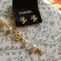 Chanel Gold Pearl Earring and Bracelet Set - Tradesy