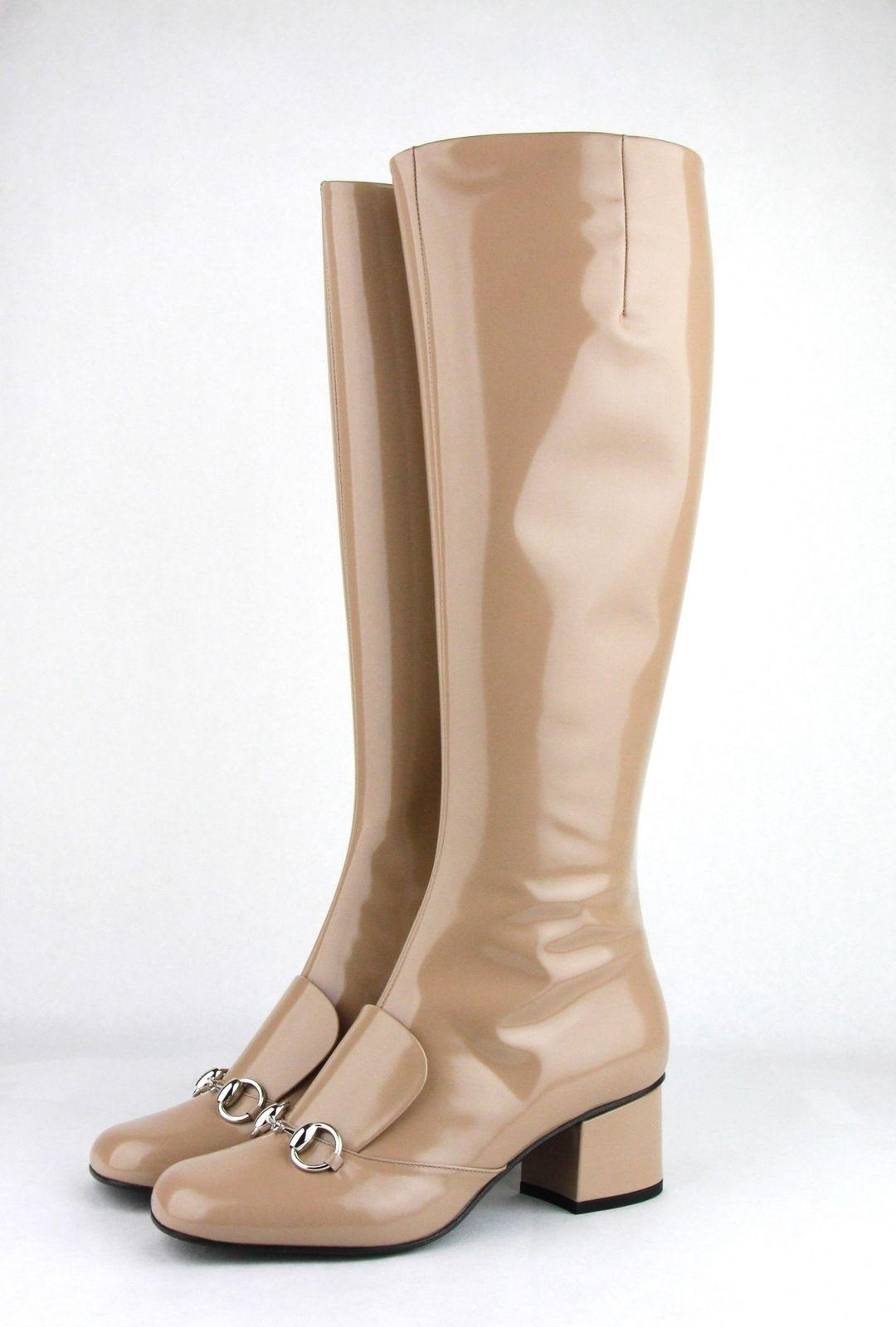 Gucci Camel Patent Leather Knee Silver Horsebit 7 362949