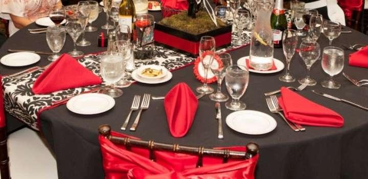black table cloth red napkins black and white damask runner - rental reference letter