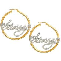 Stssy Love To Rock My Gold and Silver Nameplate Hoop ...