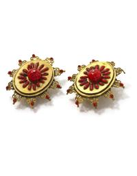 Chanel Red & Gold Vintage Earrings - Tradesy