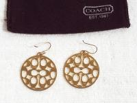 Coach Gold Large Signature Round Earrings