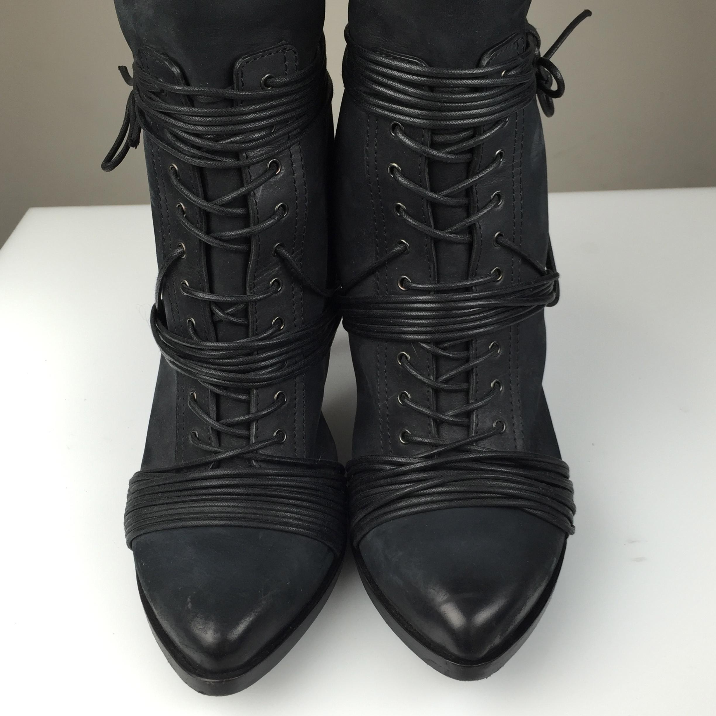 Givenchy Black Suede Tall With Heel And Laces Boots On