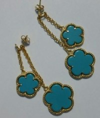 Beautiful Turquoise Sterling Silver 14k Gold Plated ...