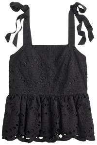 J.Crew Black Tie-shoulder Eyelet Night Out Top Size 6 (S ...