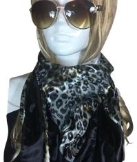 New black white leopard print scarf on Tradesy