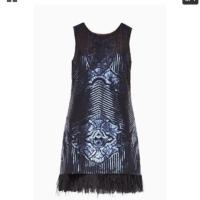 BCBGMAXAZRIA Blue Feathered Short Cocktail Dress Size 12