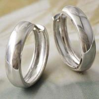 Thick White Gold Filled Plain Silver Hoop Earrings Free ...