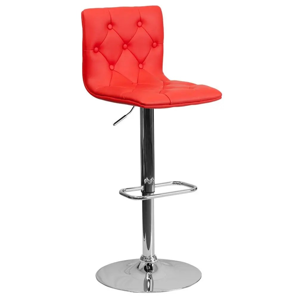 Modern Counter Height Stools Flash Furniture Ch 112080 Red Gg Contemporary Tufted Red
