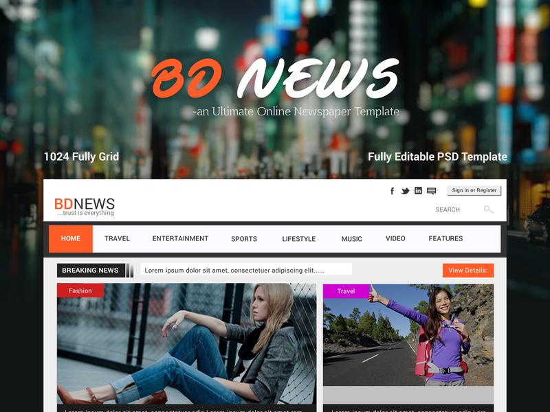 BDNEWS - Web UI/UX Design on Newspaper Template ~ EpicPxls - online newspaper template