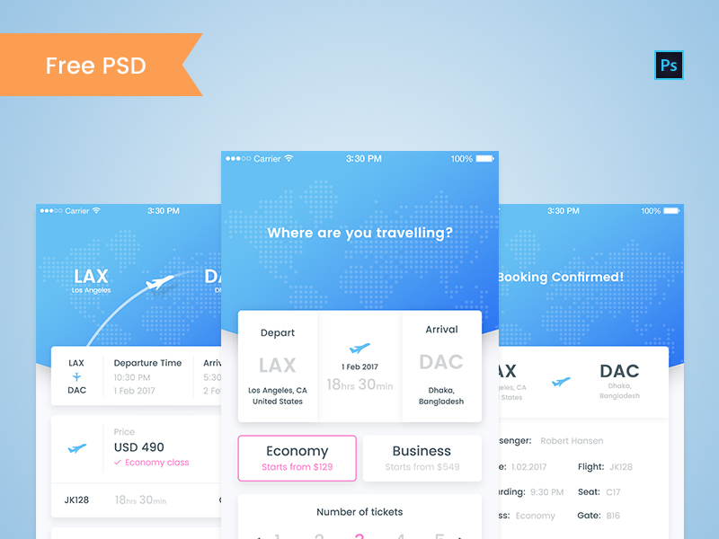 EasyFlight booking app PSD ~ EpicPxls - booking app