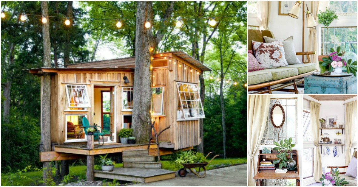 Houses Made Of Wood And Light Beautifully Chic Tree-house Is The Most Beautiful She Shed