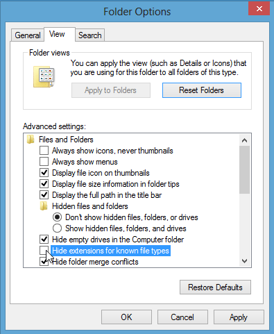 click 'View' tab, uncheck 'Hide extensions for known file types', click 'OK' button