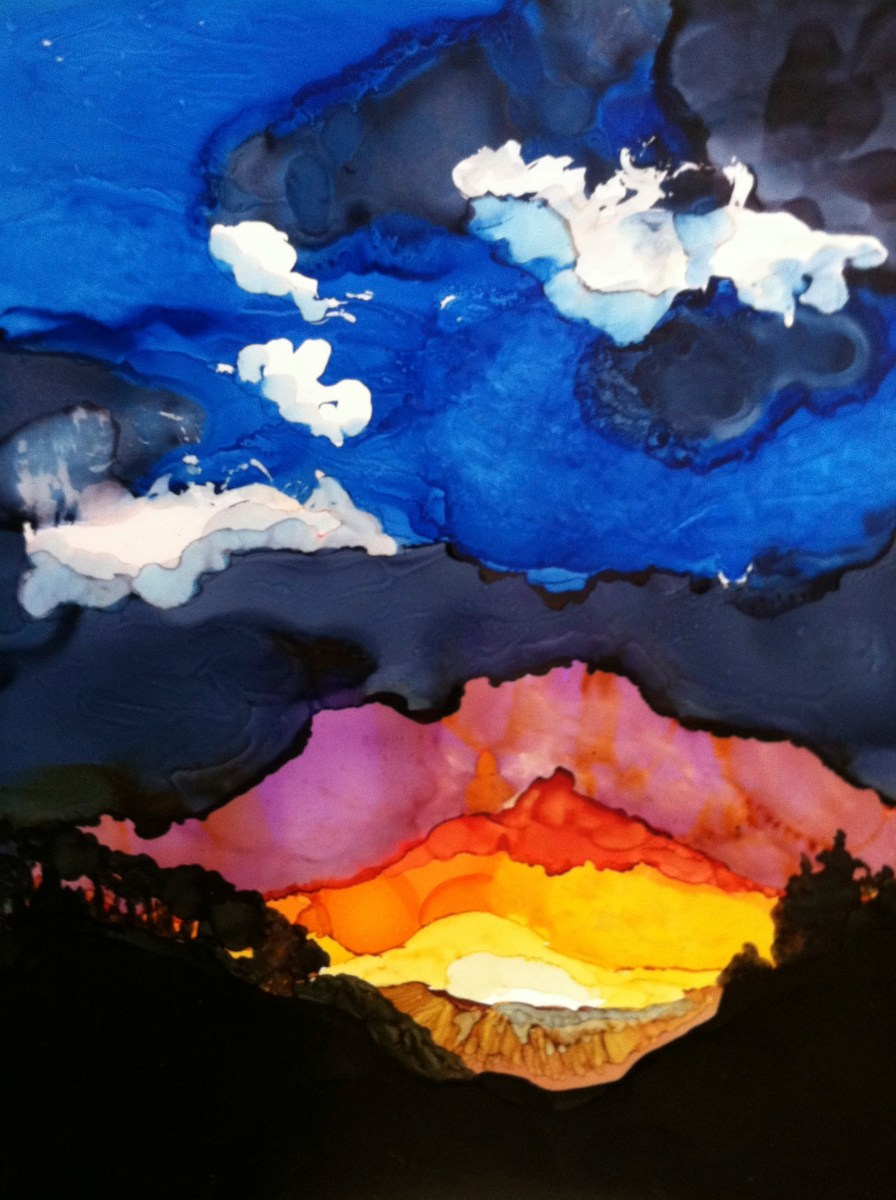 15 Landscapes Day 2 - A Mountain Sunset In Alcohol Ink